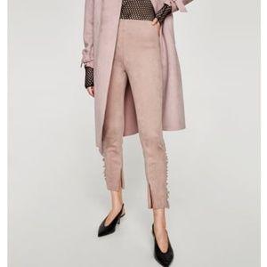 NWT Zara Size S Faux Suede Pink Leggings